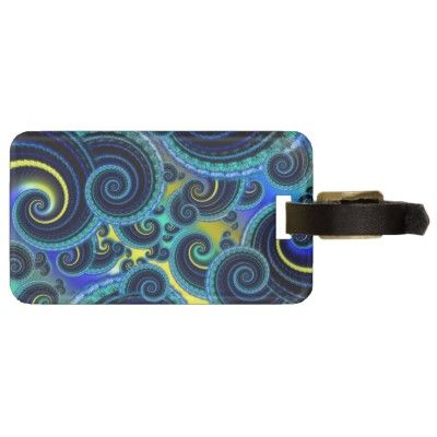 Funky #Turquoise and Yellow Swirl Pattern #Travel Bag #Tag $10.10