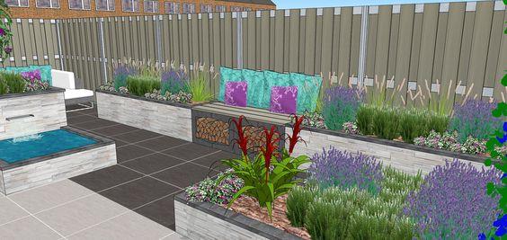 Tuinontwerp verhoogde borders zitelement moderne tuin modern garden pinterest modern en tuin - Deco gezellige lounge ...