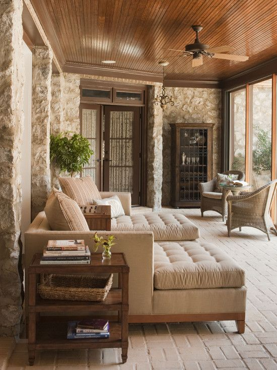 Beautiful furniture and plank ceiling on pinterest for Enclosed porch furniture ideas