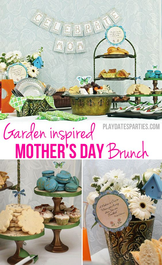 A Garden-Inspired Mother's Day Brunch with french toast cupcakes, Nutella croissants, blue champagne macarons, lavender shortbread, Caprese salad spoons http://playdatesparties.com/2011/05/real-parties-mothers-day-brunc.html