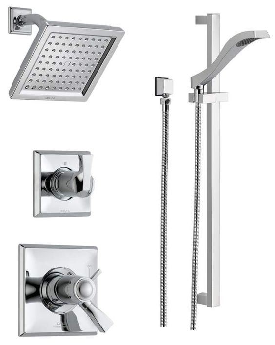 Delta DSS-Dryden-17T01 Finish: Chrome TempAssure 17T Series Thermostatic Shower System with Integrated Volume Control, Shower Head, and Hand Shower - Includes Rough-In Valves