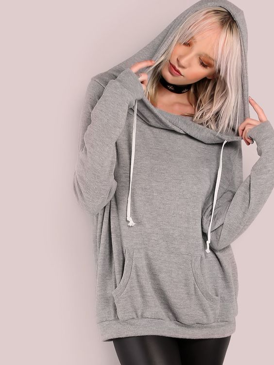 """Feel oh so comfortable in this sweatshirt. Featuring a hoodie jacket with a lightweight soft knit material, drawstring and single front pocket design. Hoodie measures 38"""" in. from top of hoodie to bottom hem. #urban #MakeMeChic #style #fashion #newarrivals #winter16"""
