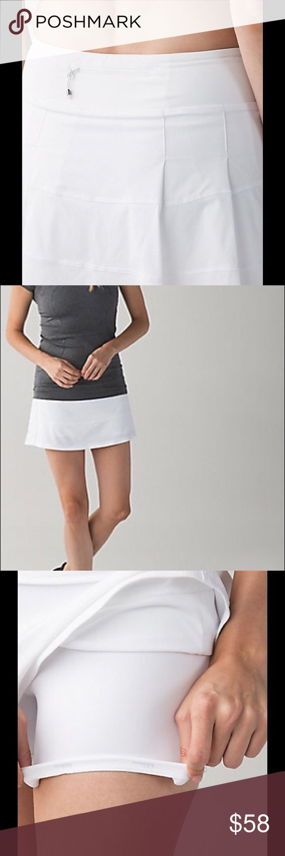NWT Lululemon Pace Rival Skirt II *T Lululemon made this skirt to hit the trails or the court in this versatile, slim-fitting skirt.  Their signature three pocket waistband has room for all essentials. Medium Rise, Hugged sensation.  Colour:  White ~ Size 6, 8, 10 lululemon athletica Shorts