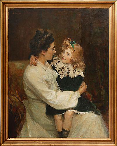 EMILIA LÖNBLAD (1865-1946) Kvinna med barn