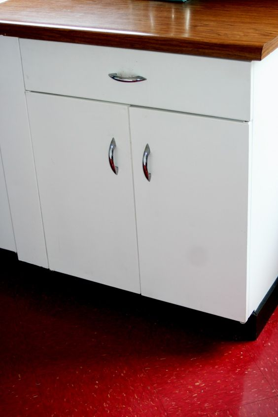 White metal cabinets with wood countertop learning to for 50s metal kitchen cabinets