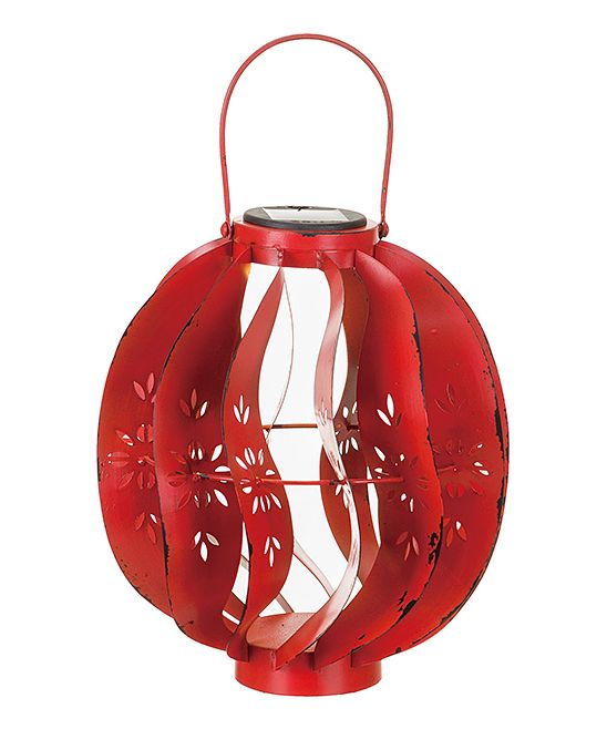 Red 11.3'' Oval Solar Lantern