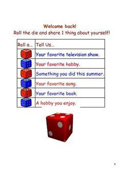 Fun Ice Breaker Activity for the First Day or Week of School... The topics could…