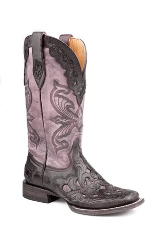 Stetson Ladies HAND TOOLED Purple Boots