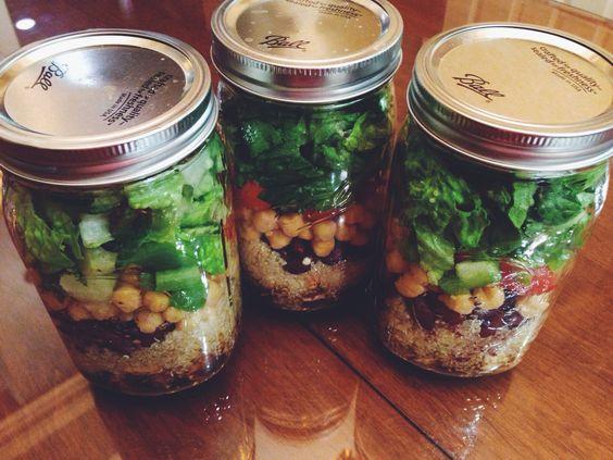 Salad in a mason jar. Light oil dressing, grilled chicken ...