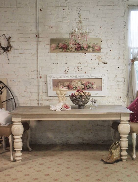 painted cottage chic shabby french linen dining table tbl30 via etsy chic shabby french style