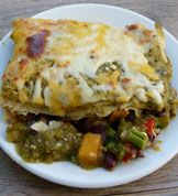 Roasted Vegetable and Black Bean Enchiladas Verdes