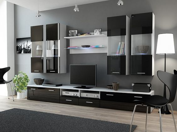 DREAM 1 WHITE BLACK LIVING ROOM FURNITURE SET Suitable for Screen Size 32 - 60 Max TV Weight 35Kg Dimensions of the whole wall units 300 x 180 x 45