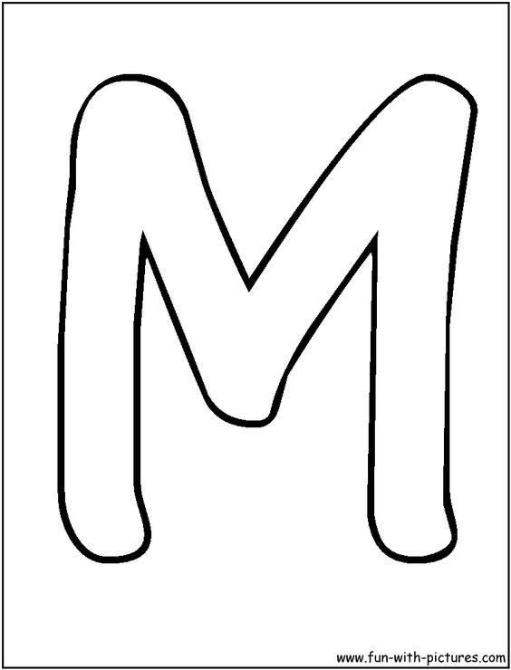 Bubble Letters M Coloring Page