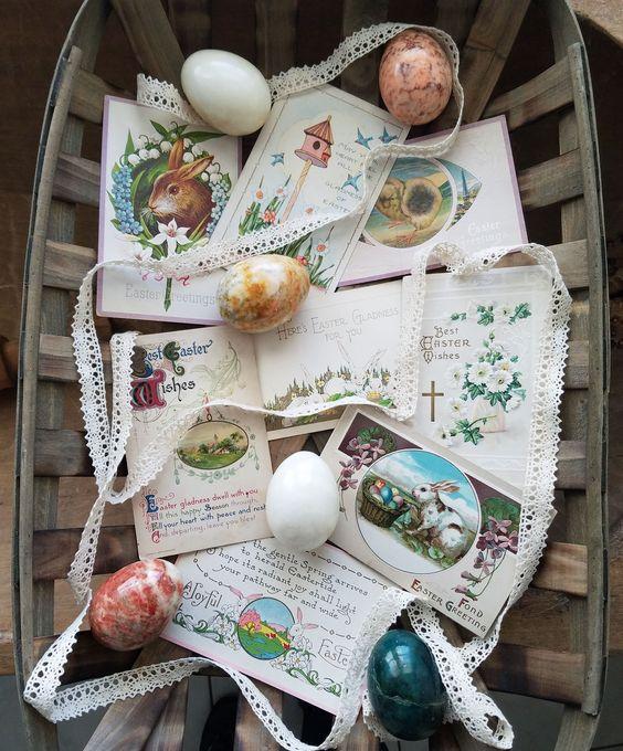 Easy Easter Vignettes Using Vintage Easter Postcards