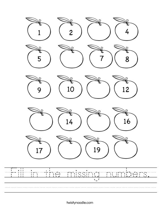 Printables Missing Number Worksheets 1-20 missing number worksheets 1 20 worksheets