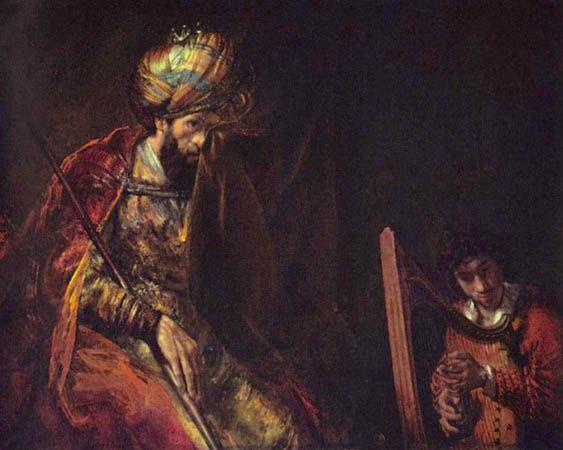 David Plays the Harp for Saul, by Rembrandt van Rijn, c. 1658.: