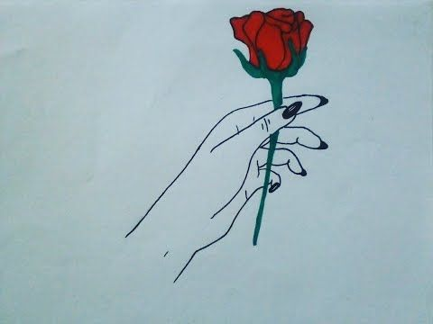 How To Draw A Hand Holding Rose Flower Hand Holding Rose Drawing Easy Tutorial Art Drawing Youtube Hand Holding Rose Rose Drawing Flower Drawing