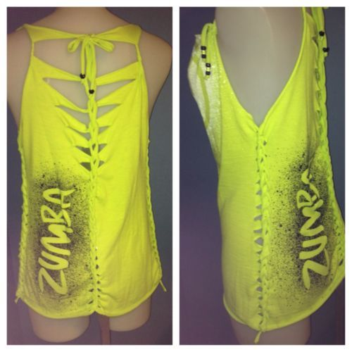 ZUMBA NEW COSMIC T,Shirt Neon Green Sm,Med Fit Cute Back And Side Design