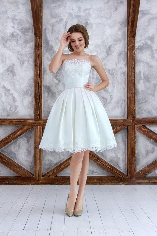 Белые свадебные короткие платья фото