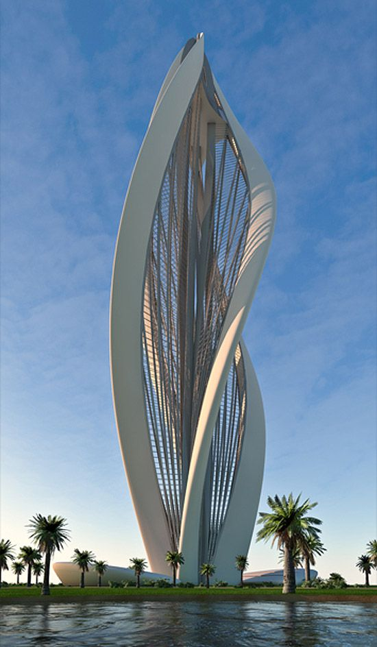 Blossoming dubai - based on the form of a blossoming flower. The tower is equipped with two elevators running on spiral rails (spiral of the most simple geometry turning 135 degrees while ascending 138 meters). These lifts ascend from lower ground floor to the cafeteria level and the viewing platform above.: