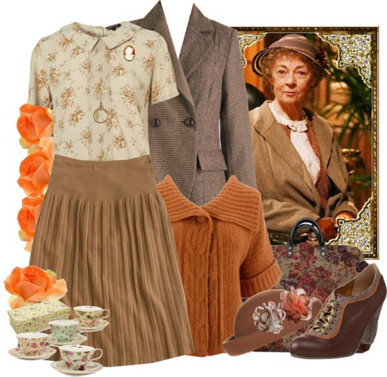 """I preferred the more delicate lacy attire of Geraldine McEwan who appeared as Miss Marple (2004 to 2009), the Agatha Christie sleuth. (""""Miss Marple"""" by fashionmefabulous ❤ liked on Polyvore)"""