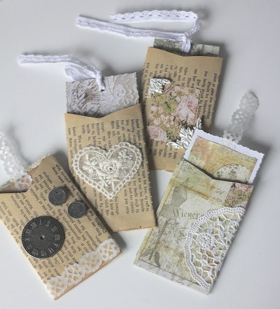 Pockets made from flattened toilet paper roll covered with old book page.... Good idea for cute notes: