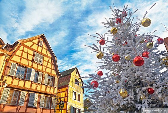 Typical half-timbering houses at Christmas time. Colmar. Wine route. Haut-Rhin. Alsace. France.