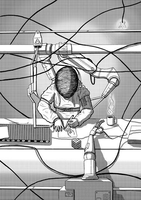 "David Piñeles Ilustraciones: ""No molesten, Ilustrador trabajando""  #DavidPiñelesIlustraciones #Dibujo #Draw #Illustration #Ilustracion #Digital #Trama #Grid #Character #Design #Ilustrador #Automatico #Automatic #illustrator"