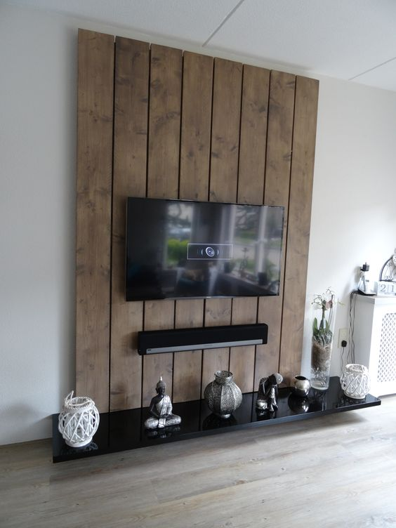 tv wandmeubel gemaakt van steigerhout en mdf de steigerplanken zijn glad geschuurd en in de. Black Bedroom Furniture Sets. Home Design Ideas