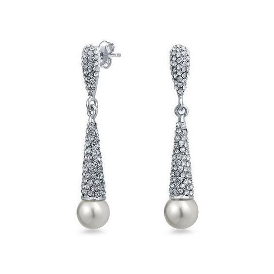 Bling Jewelry Simulated Pearl Crystal Bridal Chandelier Earrings... ($25) ❤ liked on Polyvore featuring jewelry, earrings, grey, bridal chandelier earrings, chandelier earrings, crystal chandelier earrings, vintage crystal earrings and crystal bridal earrings