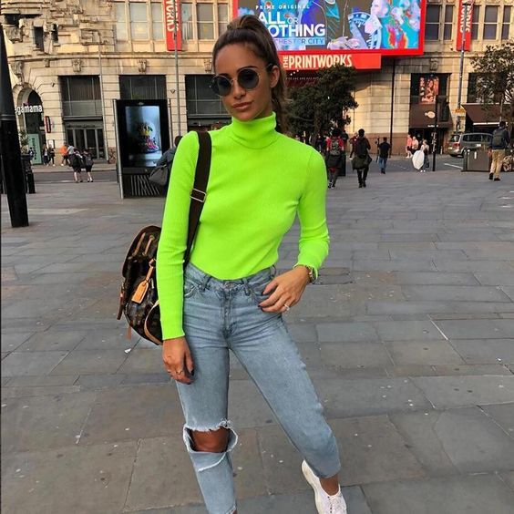 roupas neon feminina verde