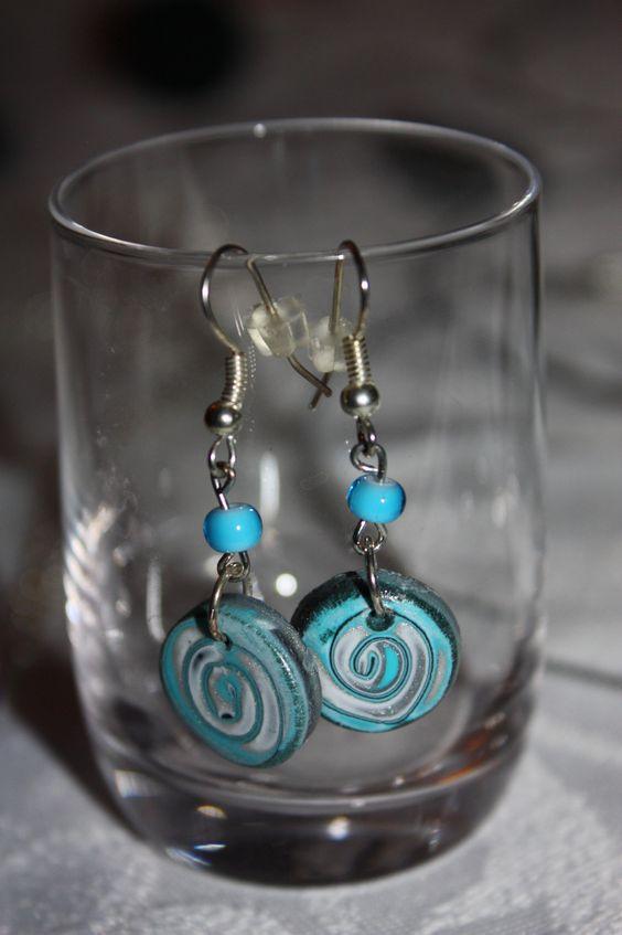 Boucles d'oreilles fimo spirales bleues et grises 2 : Boucles d'oreille par les-creations-fimo-de-marie