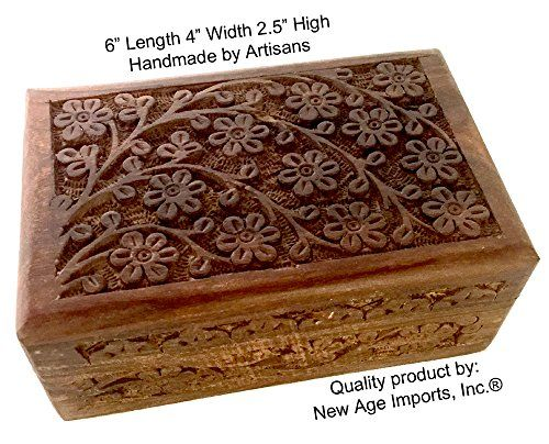 HERB STORAGE ~ India 4x6 Carved Wooden Box Tree Of Life TAROT OR INCENSE BOX