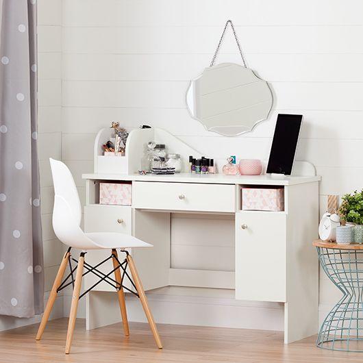 Bureau Coiffeuse Avec Tiroir En 2020 Avec Images Rangements Maquillage Idee Chambre Enfant Table Maquillage