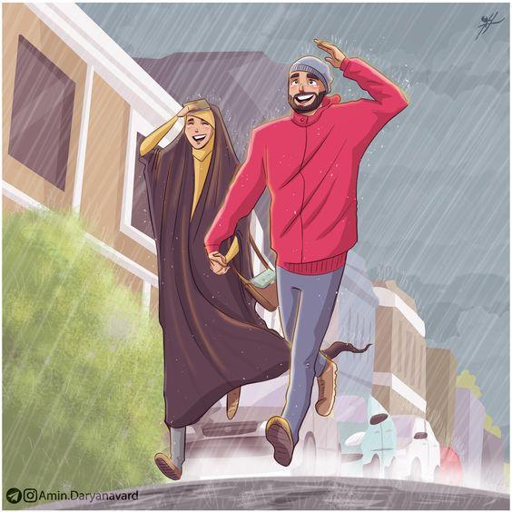 gambar kartun romantis muslimah tentang kesetiaan