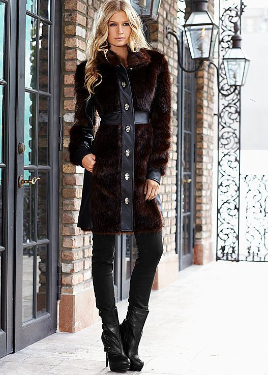 Brown & Black Faux fur coat from VENUS. Sizes 2-14!