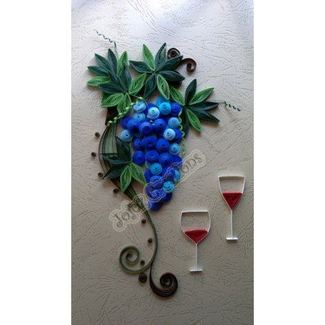 Quilled grapes vine wall art hanging framed home decor for Quilling home decor