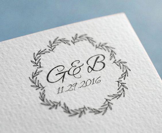 Aangepaste bruiloft Monogram stempel, aangepaste titeldragende stempel, Retro bruiloft stempel, behalve de aangepaste Rubber datumstempel, Floral Frames stempel
