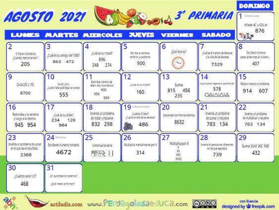 Calendario Tercero ABN – Agosto 2021