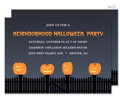Jack-O-Lanterns on the Fence Halloween Invitations