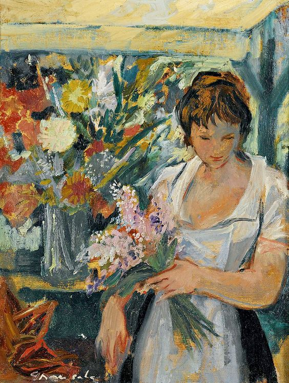 ⊰ Posing with Posies ⊱ paintings of women and flowers - Emilio Grau Sala | Woman with bouquet
