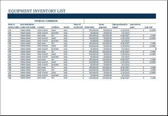 Equipment inventory list template at    wwwxltemplatesorg - consignment agreement definition