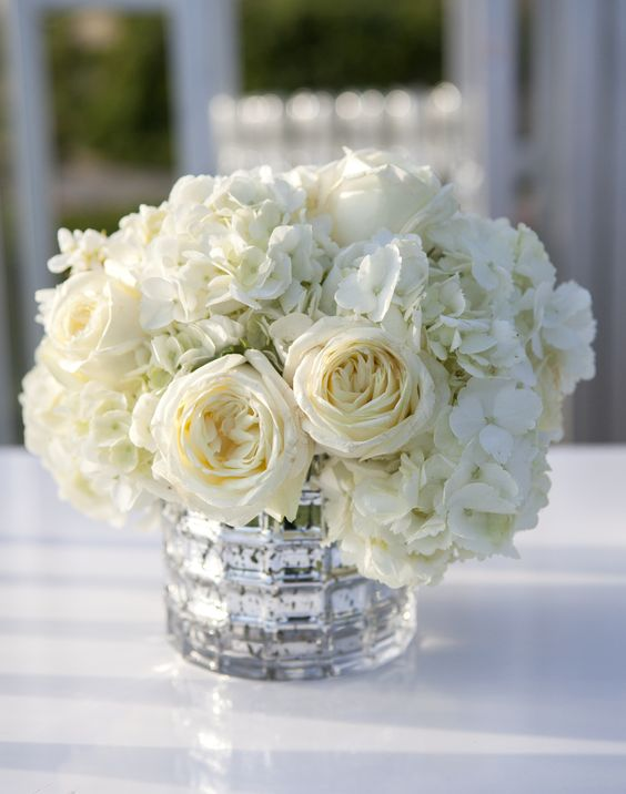 Ivory Rose and Hydrangea Low Centerpieces