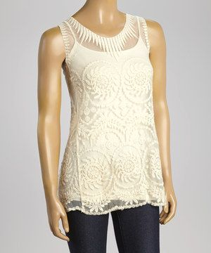 Look what I found on #zulily! Ivory Art Deco Sleeveless Top by Banana U.S.A. #zulilyfinds