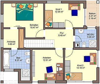 Hausbau ideen einfamilienhaus  Architekten-Haus Quadro Grundriss Dachgeschoss | home | Pinterest ...
