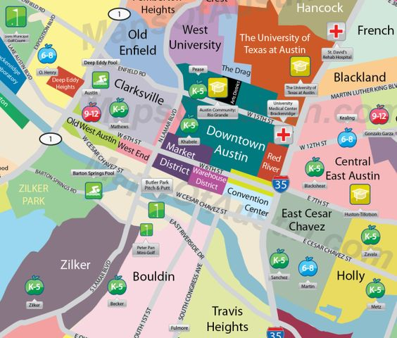 Downtown Austin TX Downtown Austin Neighborhood Map – Austin Texas Tourist Attractions Map