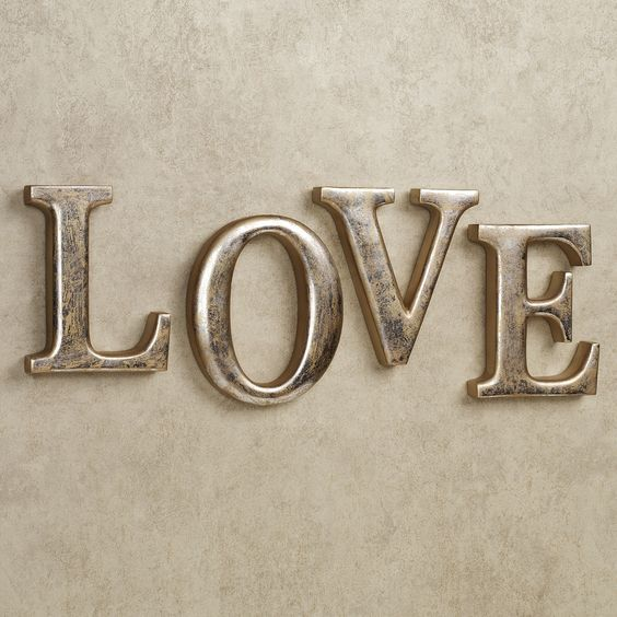 Silver And Gold Leters: LOVE Letters Wall Word Art Set