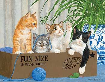 Happy Tails - Cat Painting by Persis Clayton Weirs | Wild Wings: