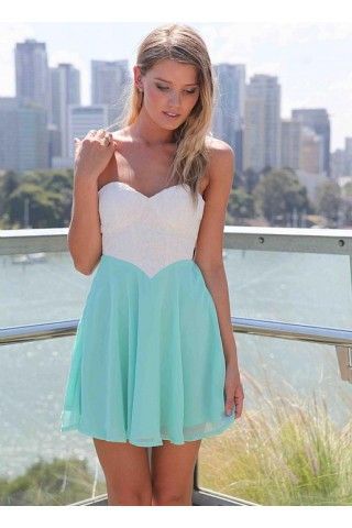 White&amp-Teal Strapless Dress with Lace Bodice&amp-Cutout Back - Lace ...