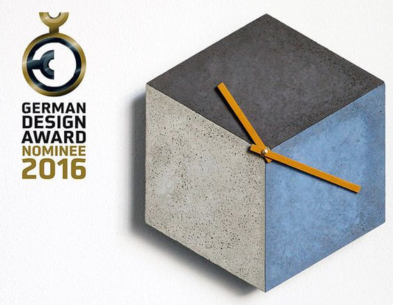 cubeclock wallclock made of concrete by betonIDEE on Etsy